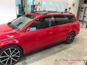 VW Lackierung Rot Uni Seitenwand